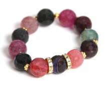 Multi-Color Agate Stretch Bracelet