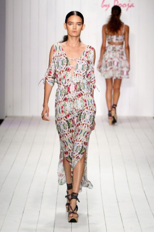 MIAMI BEACH, FL - JULY 17: A model walks the runway at the 6 Shore Road by Pooja Resort 2016 collection during FUNKSHION: Fashion Week Miami Beach Swim at the FUNKSHION Tent on July 17, 2015 in Miami Beach, Florida. (Photo by John Parra/Getty Images for 6 Shore Road by Pooja)