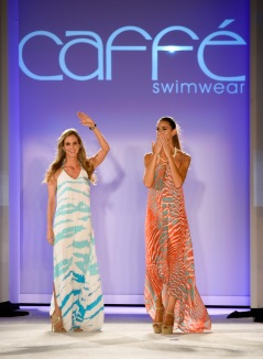 MIAMI BEACH, FL - JULY 18: Designer Paula Saavedra (L) walks the runway with a model at the Caffe Swimwear SS16 Collection during SWIMMIAMI at W South Beach WET on July 18, 2015 in Miami Beach, Florida. (Photo by Frazer Harrison/Getty Images for Caffe Swimwear)