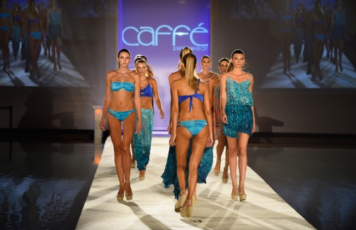 MIAMI BEACH, FL - JULY 18: Models walk the runway at the Caffe Swimwear SS16 Collection during SWIMMIAMI at W South Beach WET on July 18, 2015 in Miami Beach, Florida. (Photo by Frazer Harrison/Getty Images for Caffe Swimwear)