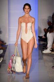 MIAMI BEACH, FL - JULY 18: A model walks the runway at the Belusso 2016 Collection during SWIMMIAMI at 1 Hotel South Beach Salon on July 18, 2015 in Miami Beach, Florida. (Photo by Frazer Harrison/Getty Images for Belusso)