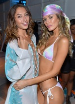 MIAMI BEACH, FL - JULY 18: Models prepare backstage at the Belusso 2016 Collection during SWIMMIAMI at 1 Hotel South Beach Salon on July 18, 2015 in Miami Beach, Florida. (Photo by Zoltan LeClerc/Getty Images for Belusso)