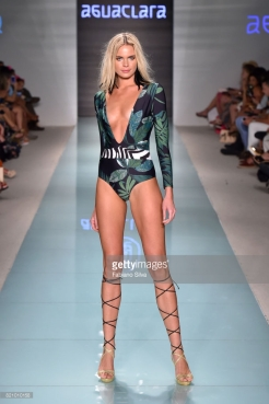 A model walks the runway at AGUACLARA fashion show during FUNKSHION Swim Fashion Week at Funkshion Tent on July 22, 2017 in Miami Beach, Florida.